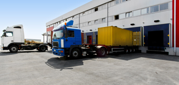 Trucks at a distribution centre